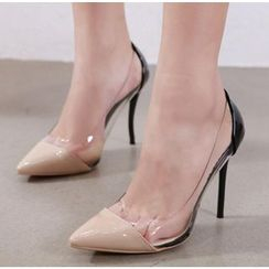 Niuna - High Heel Transparent Pointy Pumps