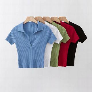 Hollahop - V领饰领短袖短款上衣