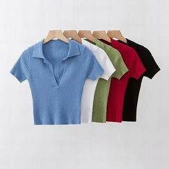 Hollahop - V領飾領短袖短款上衣