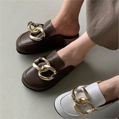 MONOBARBI(モノバービ) - Round-Toe Chain-Accent Backless Loafers