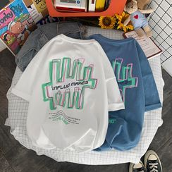 Bay Go Mall - Elbow-Sleeve Lettering T-Shirt