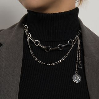 YASIN - Embossed Disc Pendant Layered Necklace