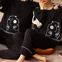 Jeony - Couple Matching Loungewear Set : Long-Sleeve Cartoon Print Top + Pants