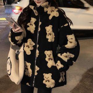 Juku Girls - Bear Print Fleece Zip Jacket
