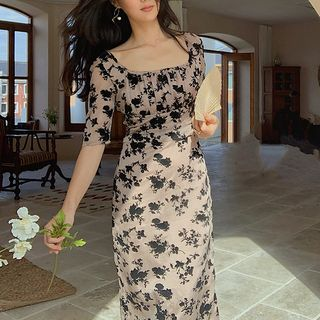 Tiny Times - Elbow-Sleeve Floral Print Midi Sheath Dress