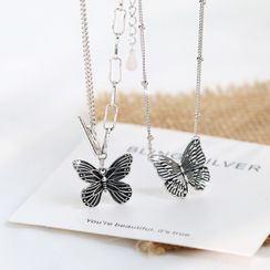 Blinglitz - 925 Sterling Silver Butterfly Pendant Layered Necklace