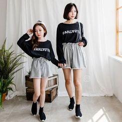 Cynanne - Family Matching Long-Sleeve Lettering T-Shirt / Wide-Leg Shorts / Set