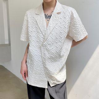 VEAZ - Short-Sleeve Plain Embossed Blazer