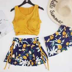 Lohto - Set: Wrap Tankini Top + Flower Print Swim Skirt + Swim Shorts