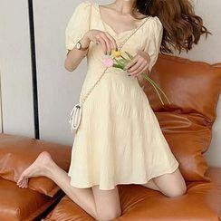 Elbelier - Short-Sleeve Open Back Mini A-Line Dress / Midi A-Line Dress