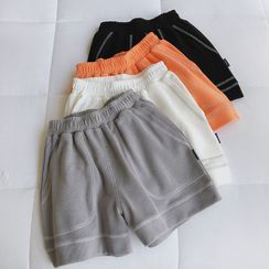 mochigome - Plain Band-Waist Wide-Leg Shorts