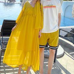 Tabula Rasa(タブララサ) - Couple Matching Balloon-Sleeve Midi A-Line Dress / Shorts / T-Shirt