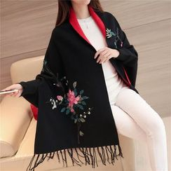 Pecora - Floral Embroidered Open Front Poncho