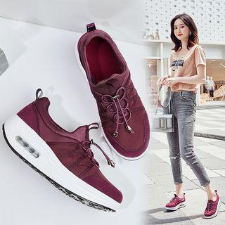 MINIKA - 繫帶透氣氣墊休閒鞋