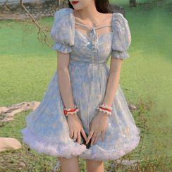 SUGARUS - 短袖網紗娃娃連衣裙 / A字迷你裙