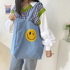 TangTangBags - Smiley Face Embroidered Denim Tote Bag