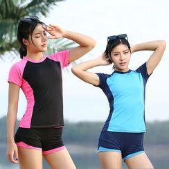 Magarri - 套装: 短袖泳衣上衣 + 短裤