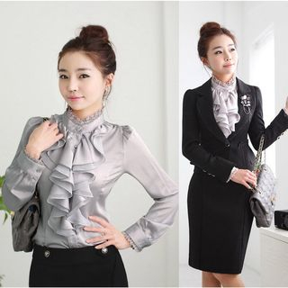 In the Mood - Ruffle Trim Lace Stand Collar Shirt