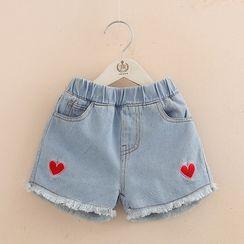 貝殼童裝 - 兒童心型刺繡牛仔短褲