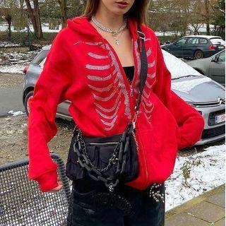 Honet - Oversized Rhinestone Ribcage Motif Zip Hoodie