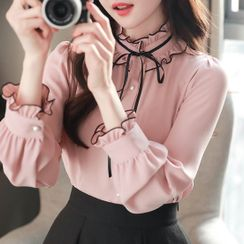 MyFiona - Tie-Neck Piped Frill-Trim Blouse