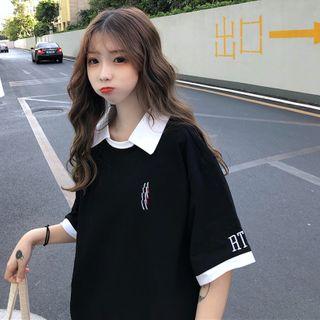 Sharis - Elbow-Sleeve Two Tone Polo Shirt