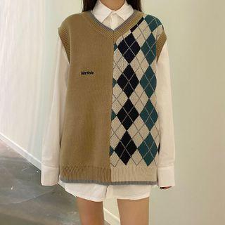 CaraMelody - 长袖纯色衬衫/印花针织马甲
