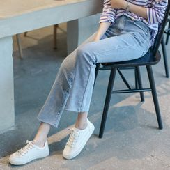 JUSTONE - Band-Waist Semi Boot-Cut Jeans