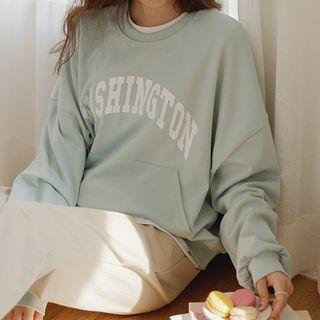JUSTONE - Letter Kangaroo-Pocket Sweatshirt
