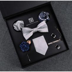 Prodigy(プロディジー) - Set: Neck Tie + Bow Tie + Pocket Square + Tie Clip + Cufflink + Lapel Pin