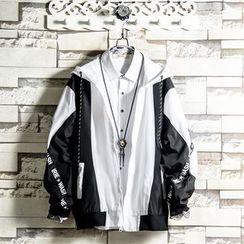 Soinku - Color Block Hooded Zip Jacket
