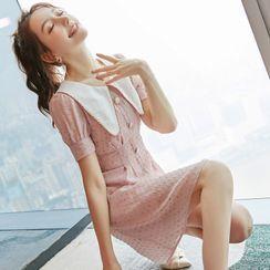 Flowncity - Collared Short-Sleeve Mini A-Line Chiffon Dress