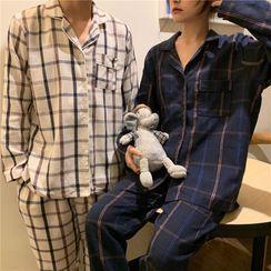Essere - Couple Matching Pajama Set: Plaid Shirt + Pants