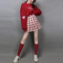 Antoinine - Lettering Sweatshirt / Plaid Mini A-Line Pleated Skirt / Long Socks / Set
