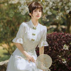 OOMOKU - Puff-Sleeve Floral Midi A-Line Qipao Dress