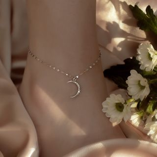 Furando - 925 Sterling Silver Moon Anklet