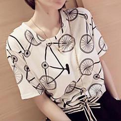Adima - Short-Sleeve Bicycle Print T-Shirt