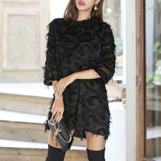 Cassidy - 3/4-Sleeve Fluffy See Through Mini Dress