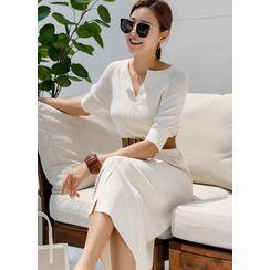 Styleonme - Raglan Notch-Neck Long Knit Dress