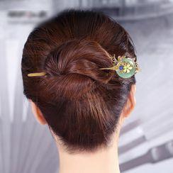 Gangnam - Retro Gemstone Flower Fringed Hair Stick
