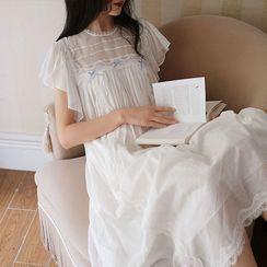 Meredith - Lace Trim Short-Sleeve Pajama Dress