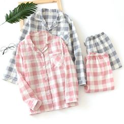 MelMount - Couple Matching Pajama Set: Checked Shirt + Pants