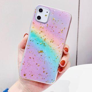 Baripa - Rainbow Print Gold Leaf Mobile Case - iPhone 11 Pro Max / 11 Pro / 11 / XS Max / XS / XR / X / 8 / 8 Plus / 7 / 7 Plus / 6s / 6s Plus