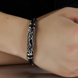 Tenri(テンリ) - Stainless Steel Woven Faux Leather Bracelet