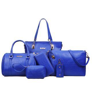 Mayanne - Set of 5: Faux Leather Shoulder Bag + Handbag + Pouch + Wallet + Key Holder