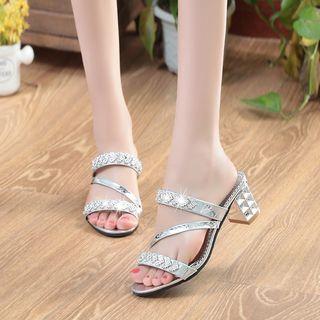 MANMANNI - Chunky-Heel Rhinestone Slide Sandals