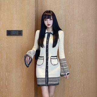 Newkoou - 条纹拼接喇叭袖迷你针织塑身连衣裙