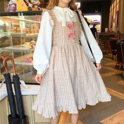 Yoshimi - 长袖领结带衬衫 / 格纹皱摺边背带A字连衣裙