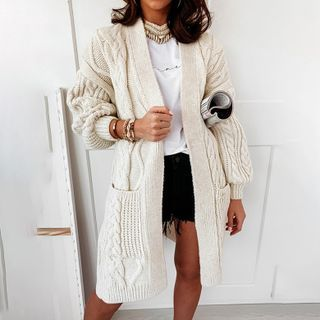 Simplee - Plain Cable Knit Cardigan