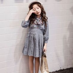 Qin Qin - Kids 3/4-Sleeve Striped Embroidered Pleated Dress